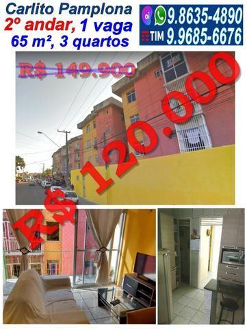Apartamento no Carlito Pamplona, 65 m², 3 quartos, 1 vaga, Ao lado da Pracinha