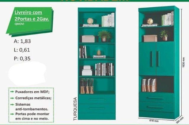 livreiro com duas portas e duas gavetas zap  * - Foto 3