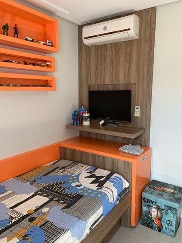Cama com colchao tamanho 1x1,98, cama auxiliar, com painel para TV   - Foto 6