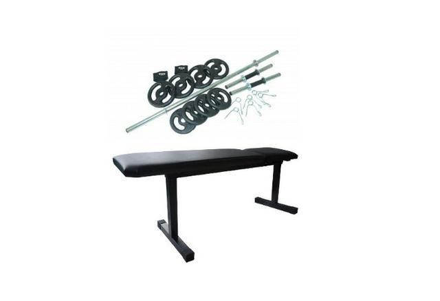 36c9b7ec4 Kit com banco reto fixo de supino e exercícios livres + kit de barras e  anilhas