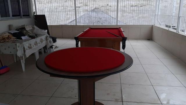 Mesa Carteado Carlin Bilhares | Mesa Imbuia | Tecido Vermelho | Borda Vermelha - Foto 2