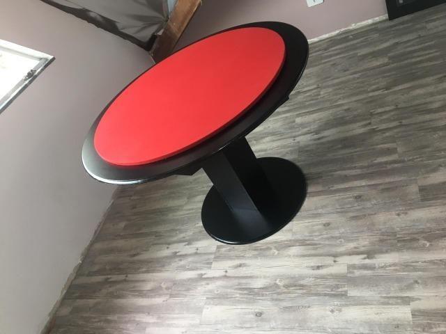 Mesa Carteado | Mesa Preta | Tecido Vermelho | Modelo: CRZC9027 - Foto 2