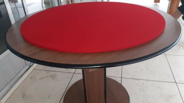 Mesa Carteado Carlin Bilhares | Mesa Imbuia | Tecido Vermelho | Borda Vermelha
