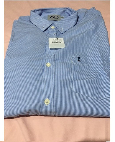 Camisa manga longa azul AD Life Style nova, 100% algodão - Foto 2