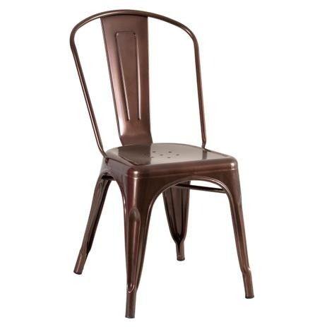 Cadeira em aço na cor Bronze nova