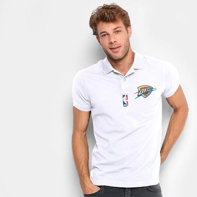 Camisa Polo Do Oklahoma City Thunder - Nba - 100% Bordada