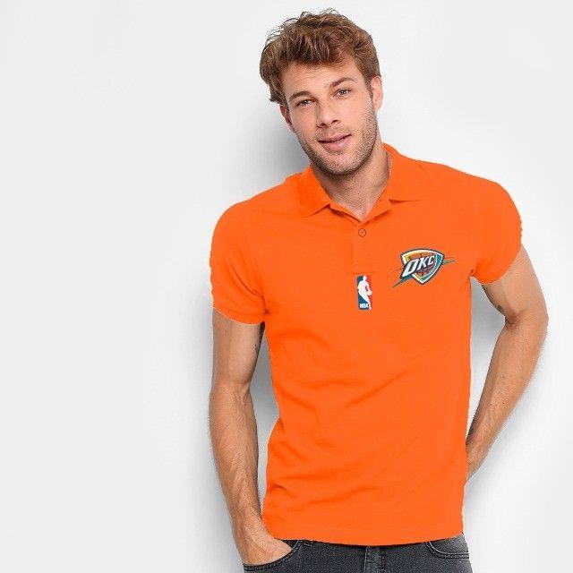 Camisa Polo Do Oklahoma City Thunder - Nba - 100% Bordada - Foto 3