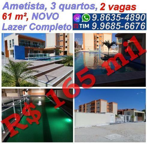 Abaixou,61 m², 3 quartos, 2 vagas, Condomínio Ametista