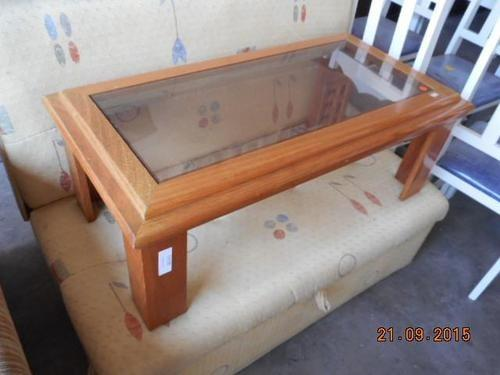 Mesa De Centro Cerejeira Com Vidro Relíquia Madeira Maciça - Foto 2