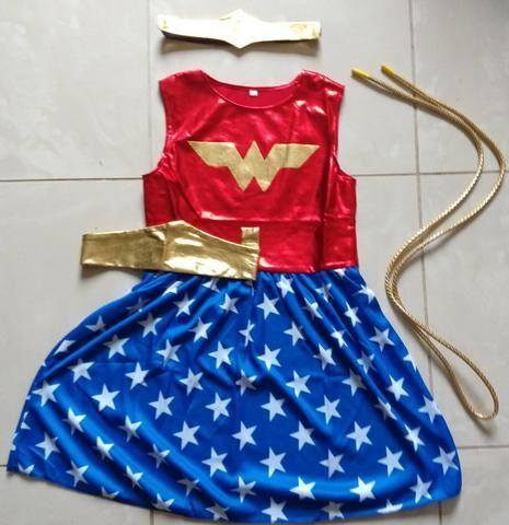 Fantasia vestido infantil mulher maravilha