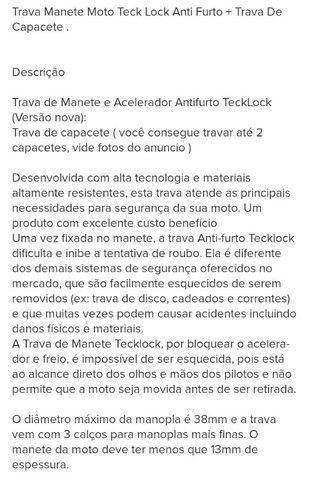 TRAVA DE MOTO TECKLOCK + TRAVA DE CAPACETE TECKLOCK + CAPA DE MOTO  - Foto 4