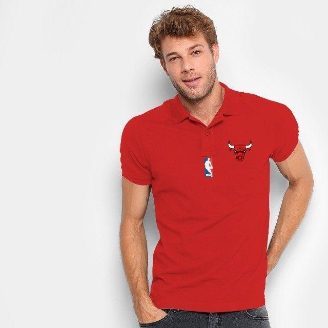 Camisa Polo Do Chicago Bulls - Nba - 100% Bordada - Foto 2