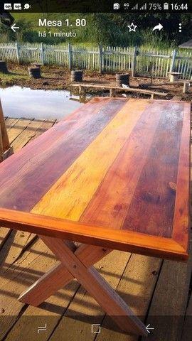 Mesa com bancos ou banquetas madeira demolição peroba rosa  a pronta entrega
