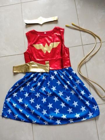 Fantasia vestido infantil mulher maravilha - Foto 3