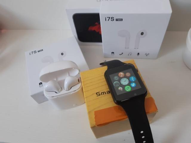 Kit Relógio Smartwatch estilo A.p,p-l.e com TWS air pods Bluetooth Novos com Garantia
