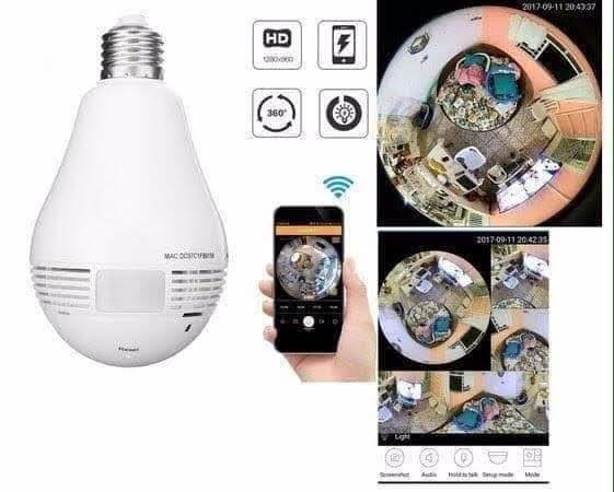 Lâmpada Câmera Espiã de Segurança 360° - Foto 2