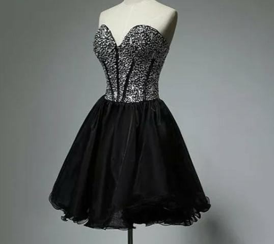 Vestido preto curto festa debutante f482416295460
