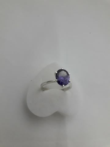 3c038eda384c5 Anel Solitário Prata Com Pedra Ametista Zirconia Oval 313 ...