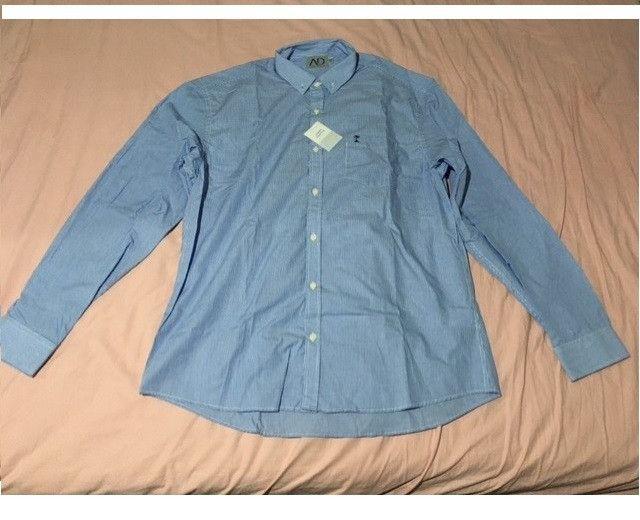 Camisa manga longa azul AD Life Style nova, 100% algodão - Foto 6