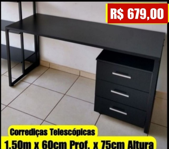 Mesa Industrial Nova com gaveteiro 1.50m x 60 cm - Entrego e Monto - Foto 3