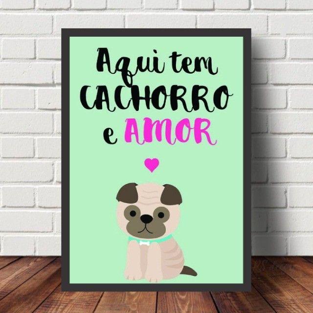 ***Leia*** Quadros Decorativos Personalizados Frases Pets - Foto 2