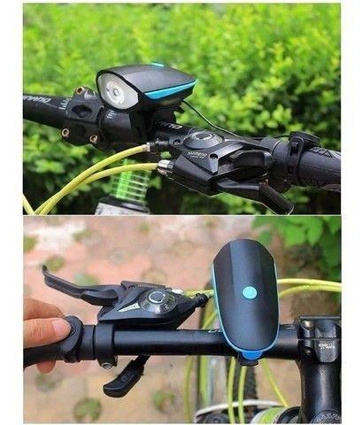 Farol Led Lanterna Bike buzina - Foto 2