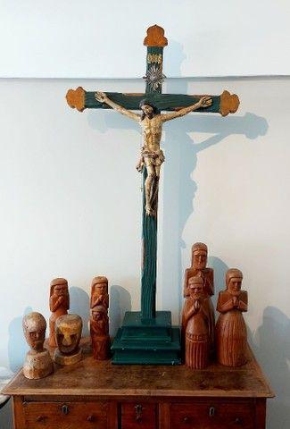 Crucifxo Antigo Cristo crucificado  - Foto 6