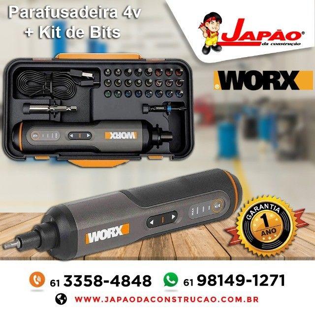 Parafusadeira a Bateria 4V + Kit de Acessórios Worx Garantia de 1 Ano