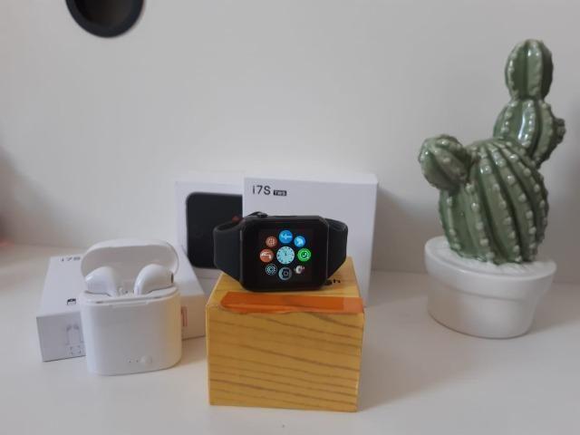Kit Relógio Smartwatch estilo A.p,p-l.e com TWS air pods Bluetooth Novos com Garantia - Foto 2