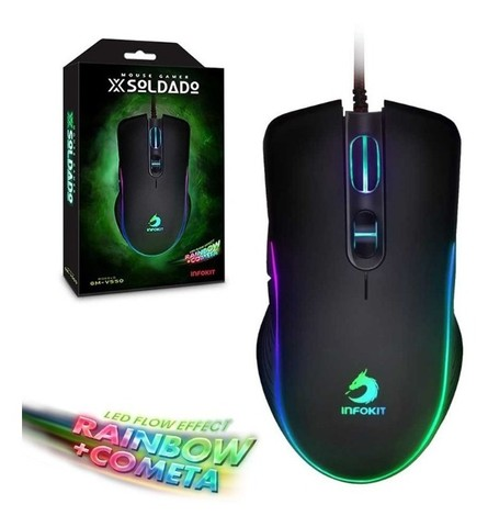 Mouse gamer usb com led rgb infokit gm-v550 x soldado - Foto 4