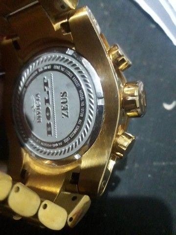 Relogio invicta bolt zeus banhado ouro 18