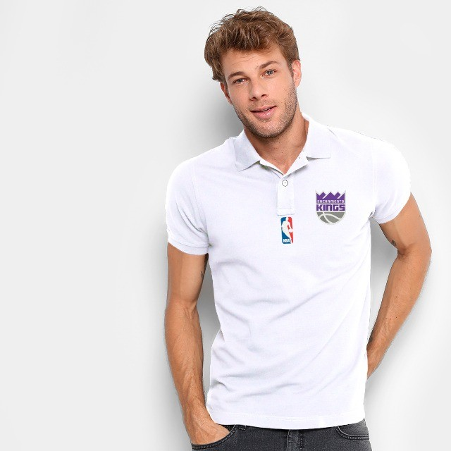 Camisa Polo Do Sacramento Kings - Nba - 100% Bordada - Foto 3
