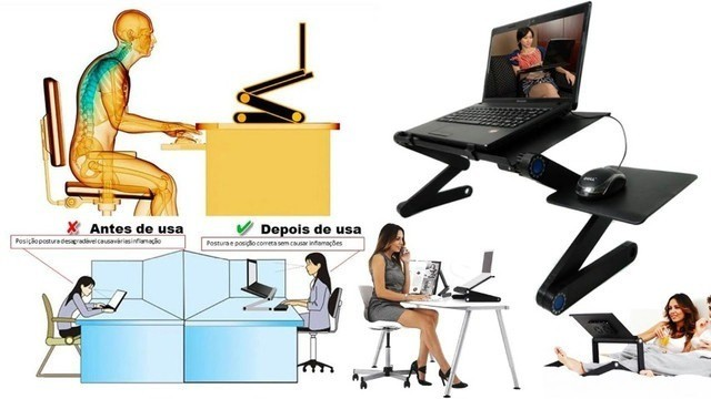 R$ 229 Mesa Para Notebook Dobravel Multifuncional Com Cooler - Foto 2