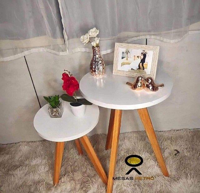 mesas mesinhas kit com 3 tres mesas para decorar sua casa/loja e presentear sua mae - Foto 6