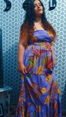 Vestido longo florido lilás  - Foto 2