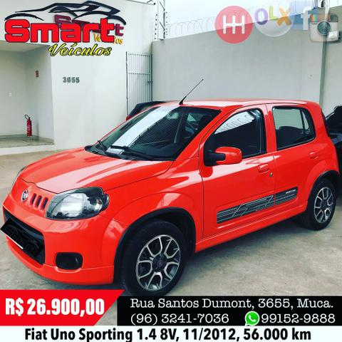 Smart Veículos - Fiat Uno Sporting 1.4 8V, 11/2012, 56.000 km