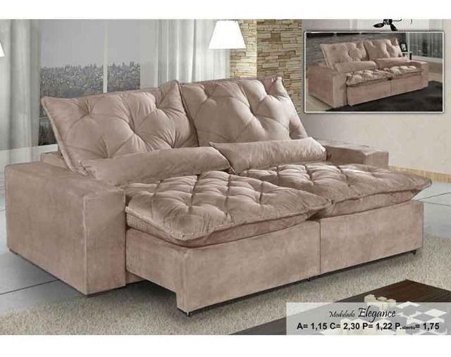 Sofá Retrátil e Reclinável Elegance Confort 2mt - Foto 2