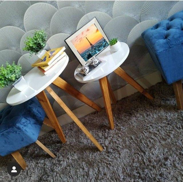 mesas mesinhas kit com 3 tres mesas para decorar sua casa/loja e presentear sua mae - Foto 4