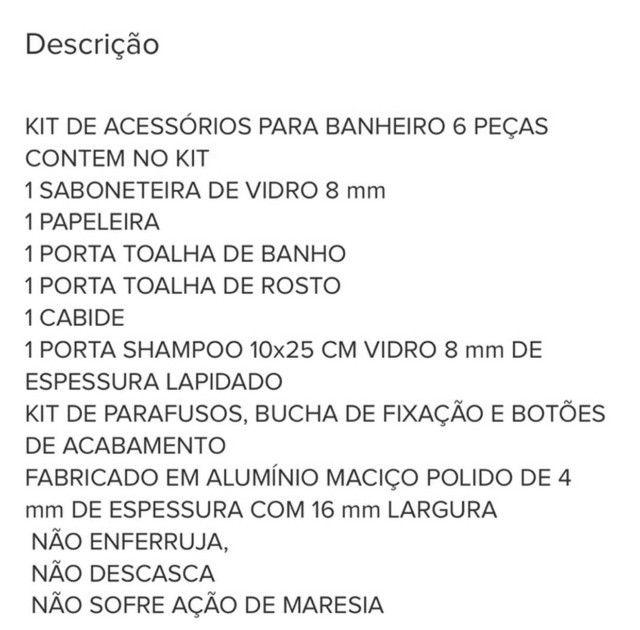 Kit De Acessório Para Banheiro 6 Peças NOVO, NA CAIXA - Foto 6