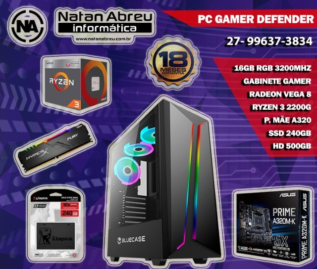 PC Gamer AMD Ryzen 2200G + 16GB Ddr4 Dual Channel + SSD + HD + Vega 8 - Loja Natan Abreu