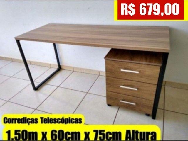 Mesa Industrial Nova com gaveteiro 1.50m x 60 cm - Entrego e Monto - Foto 2