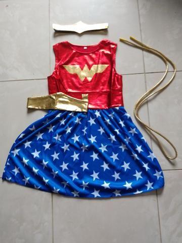 Fantasia vestido infantil mulher maravilha - Foto 2
