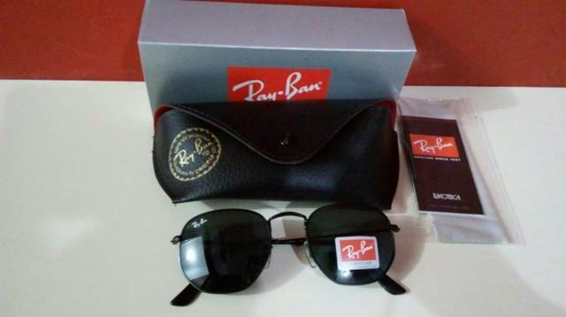 df08b445086e1 Óculos de sol Ray ban Hexagonal todo preto Unissex Novo na caixa ...
