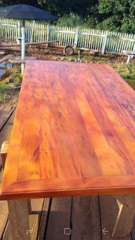 Mesa com bancos ou banquetas madeira demolição peroba rosa  a pronta entrega  - Foto 5