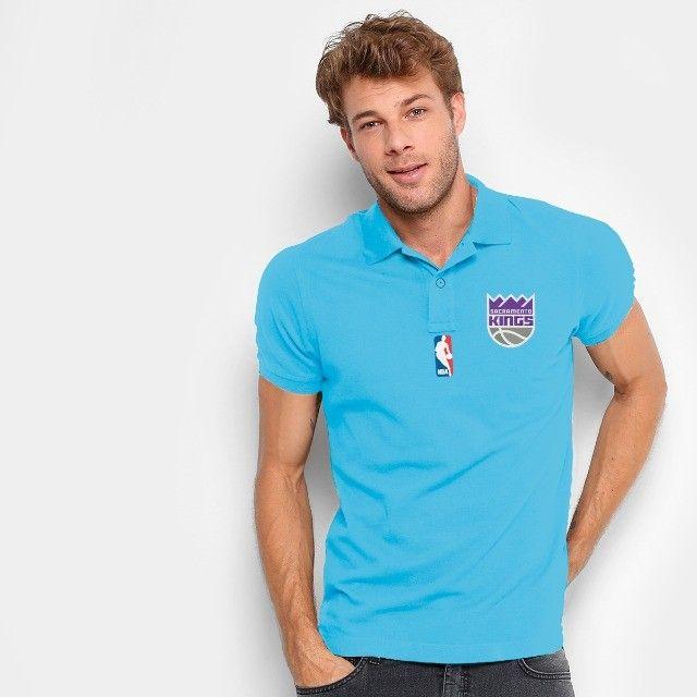 Camisa Polo Do Sacramento Kings - Nba - 100% Bordada - Foto 4