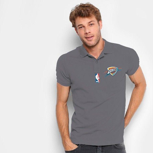 Camisa Polo Do Oklahoma City Thunder - Nba - 100% Bordada - Foto 2