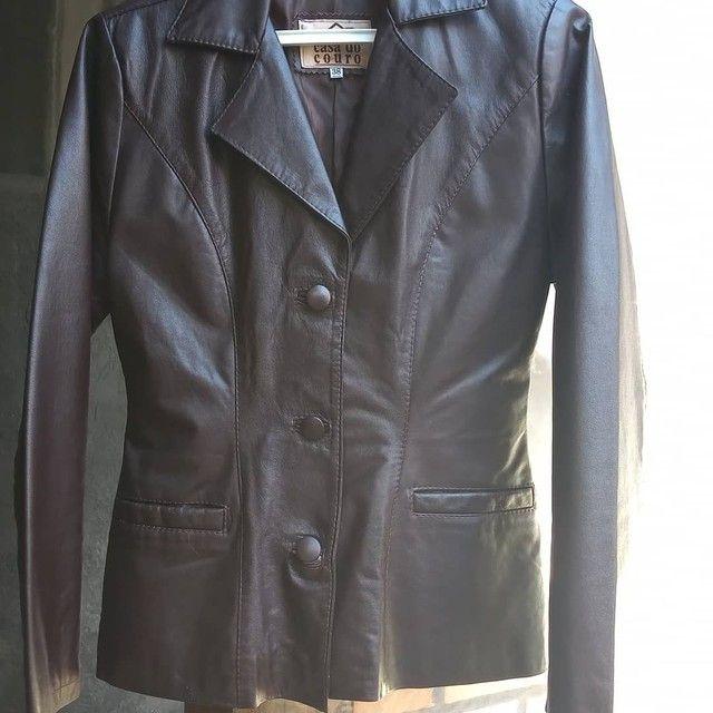 Jaqueta em couro marrom - Foto 3