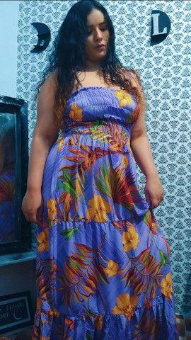 Vestido longo florido lilás  - Foto 3