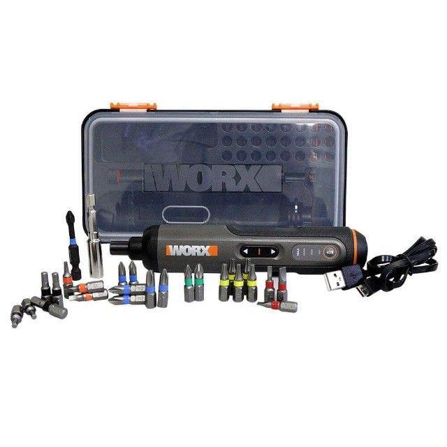 Parafusadeira a Bateria 4V + Kit de Acessórios Worx Garantia de 1 Ano - Foto 2