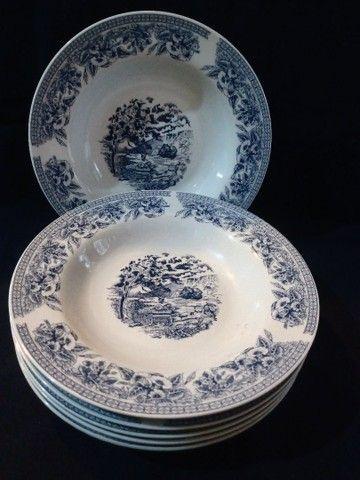 Seis pratos fundos em porcelana com cena de campo e flores - Foto 2